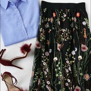 H&M Floral Embroidered Mesh Skirt